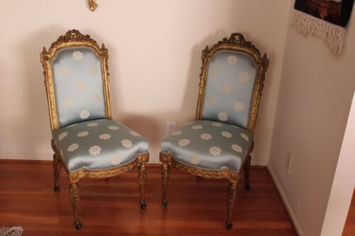 Antique Pair Of Vintage Louise XVII French Gilt Hand Carved Wood Chairs