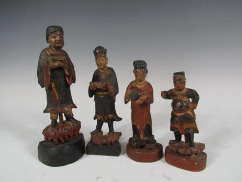 4 ANTIQUE 1800s CARVED WOOD CHINESE FIGURES OF MEN & WOMEN, POLYCHROME PAINT