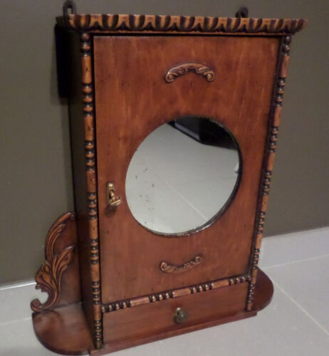 Flemish 1950 VTG Wood apothecary medicine wall cabinet with key drawer