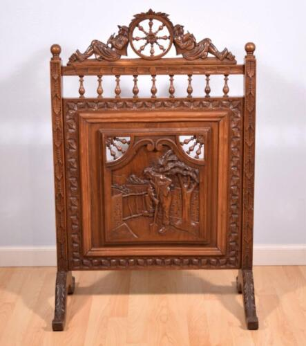 French Antique Breton (Brittany) Fireplace Screen in Chestnut Wood