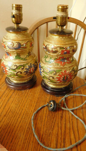 Antique Oriental China -Japan  Brass Hand Decorated Electric Lamps -FreeS&H