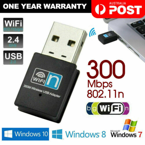 USB Wireless N WiFi Adapter Dongle Network LAN Card 802.11n 300Mbps Windows 10