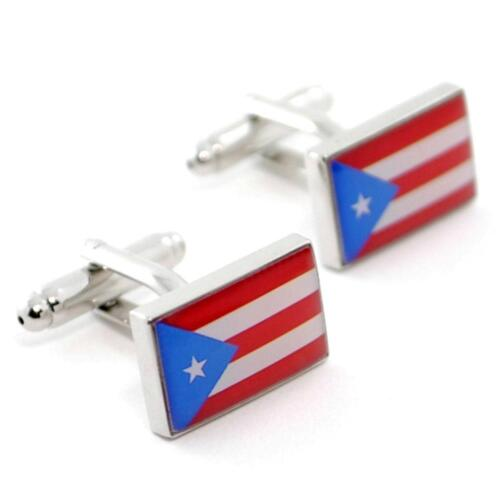 PUERTO RICO FLAG CUFFLINKS PAIR High Quality NEW w GIFT BAG World Rican Jewelry