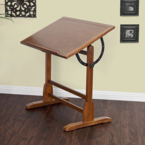 Professional Drafting Table With Parallel Bar Adjustable Antique Vintage Wood