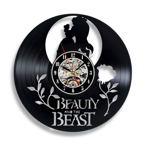 Beauty and the beast inspired box frame picture rose vinyl clock