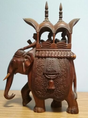 Vintage Unusual Hand Carved Wooden Elephant Statue Decor w/ Secret Compartment