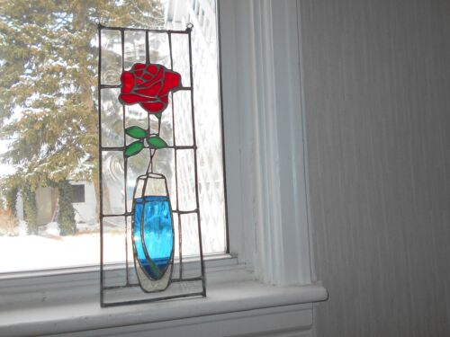 STAINED GLASS WINDOW PANEL SUNCATCHER AMERICAN BEAUTY RED ROSE