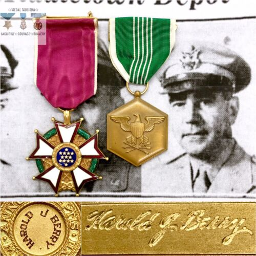 NAMED LEGION OF MERIT ARMY COMMENDATION MEDAL WWI KOREAN WAR COL. HAROLD J BERRYMedals & Ribbons - 4724