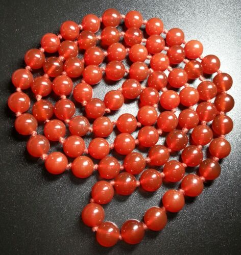 "Vintage Chinese Cherry Red Carnelian Agate Bead Hand Knotted 30"" Necklace"