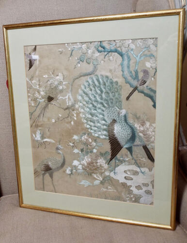 Antique Chinese Embroidery Silk Panel Hundred Birds Pattern Peacock