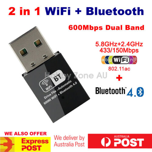 USB bluetooth V4.0+Dual Band 600Mbps Wireless AC WiFi Adapter 2in1 Combo Dongle