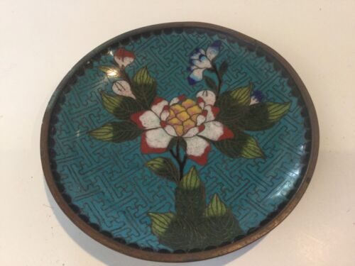 Vintage Chinese Cloisonne Floral Small Dish Plate