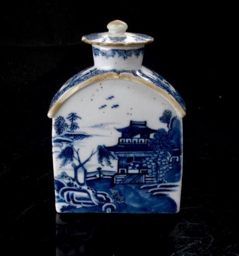Antique 18th Century Chinese Export Blue Canton Tea Caddy