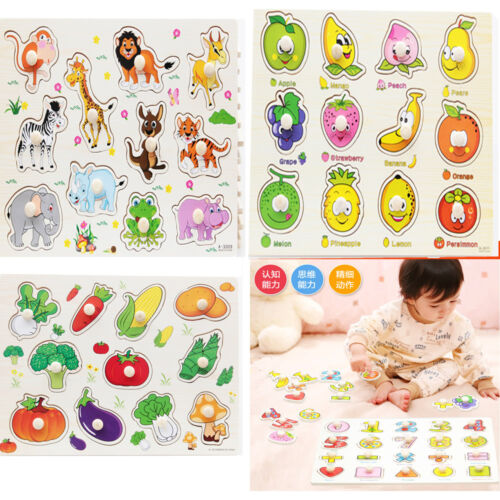 Wooden Puzzle Baby Hand Toy Grasp Kid Early Educational Toys Animal Learning Lot