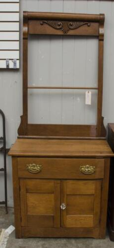 Oak wash stand with towel rack Lot 253