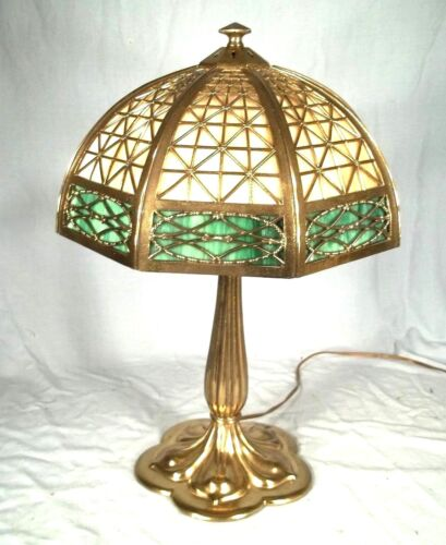 ANTIQUE EARLY 20th CENTURY VICTORIAN ART NOUVEAU STAINED GLASS LAMP