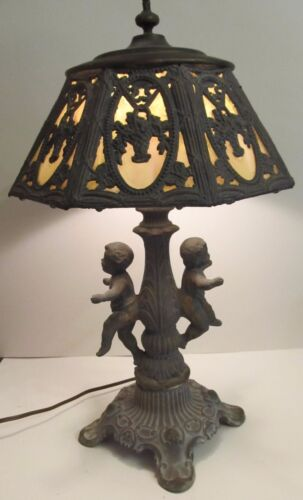 Antique Cherubs or Cupids Arts & Crafts Slag Glass Table Lamp, Great condition
