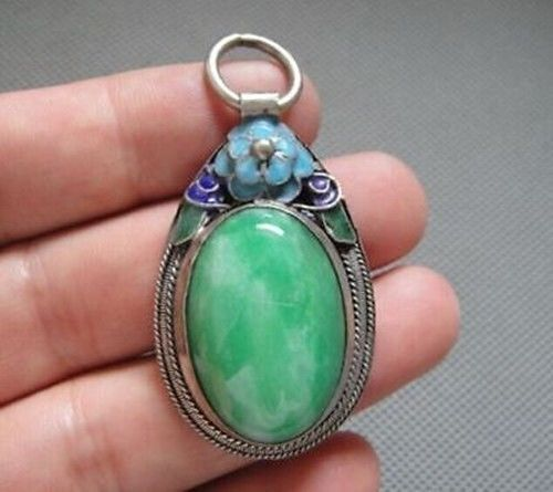 Rare Antique Chinese Silver  Enamel Mosaic jade Pendant &1
