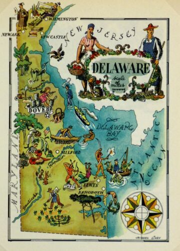 Delaware Vintage Pictorial Map (Small/Postcard size)