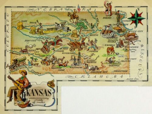 Kansas Antique Vintage Pictorial Map