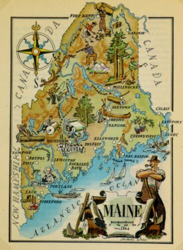 Maine Vintage Pictorial Map   (Small/Postcard size)