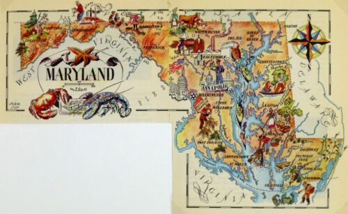 Maryland Vintage Pictorial Map  (Small/Postcard size)