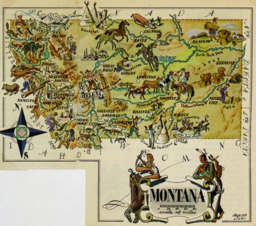 Montana Antique Vintage Pictorial Map