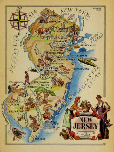 New Jersey Vintage Pictorial Map   (Small/Postcard size)