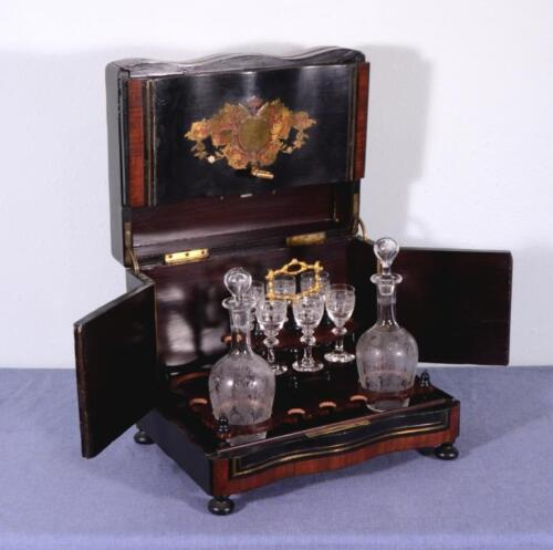 French 2nd Empire Antique Decanter Tantalus Napoleon III Boulle Liquor Cabinet