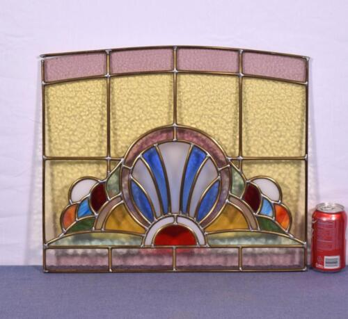 Antique French Stained Glass Panel with Brass Frames