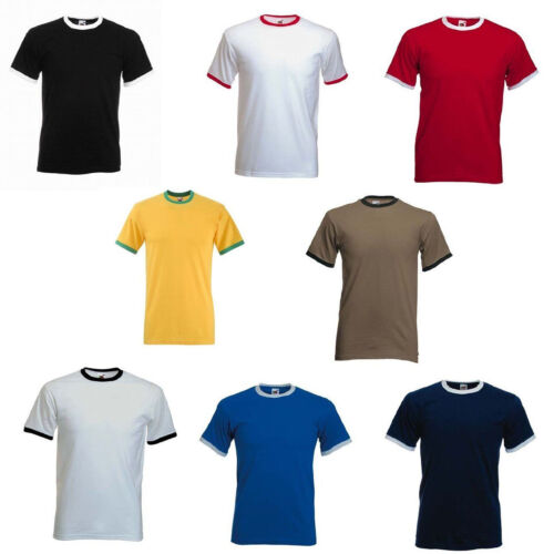 Fruit of The Loom Plain Ringer Cotton t-shirt Two Tone Contrast Tee Sale Shirt