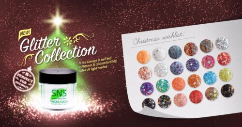 SNS Nail Gelous Colors Glitter Collection Dipping Powder NO U/V. NO SMELL