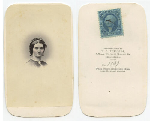 CDV STUDIO PORTRAIT - LADY W/ CAMEO PIN, 2 CENT STAMP