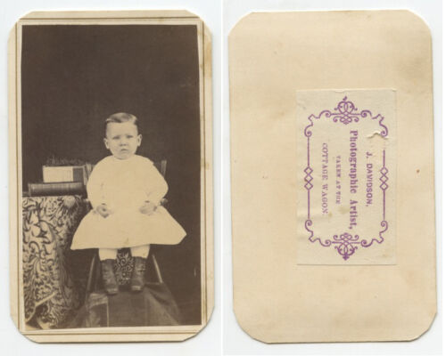CHILD - CDV PORTRAIT BY A PHOTOGRAPHIC ARTIST AT COTTAGE WAGON