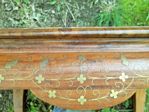 ANTIQUE EARLY 20th CENTURY ANGLO-INDIA BRASS INLAID CHECKERBOARD SIDE TABLE