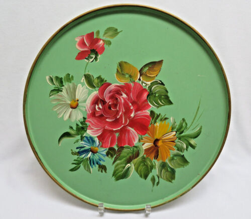 """Vintage Hand Painted Round 10"""" Tole Tray rb11"""
