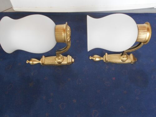 Pair of  vintage french Wall LIGHT SCONCES & milk shades