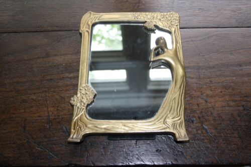 Vintage Art Nouveau Deco Solid Brass Lady Flowers Tabletop Vanity Mirror