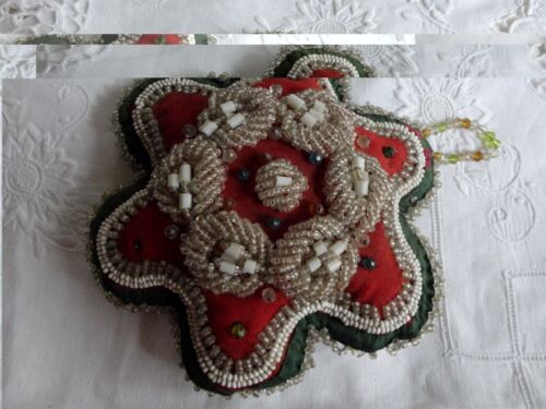 Antique Native American Indian Beaded IROQUOIS Pin Cushion, Christmas Red Green