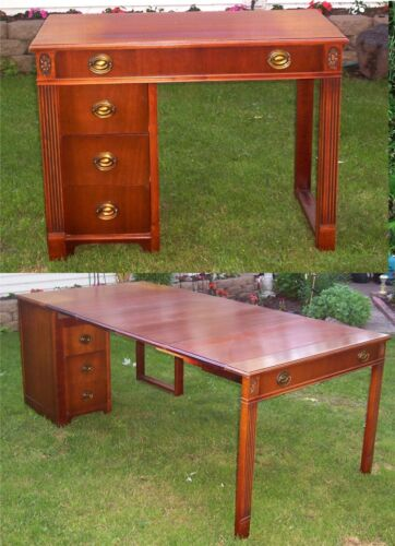 Antique Extending Mahogany Desk, All Orig, Saginaw Furn. Watertown Slide