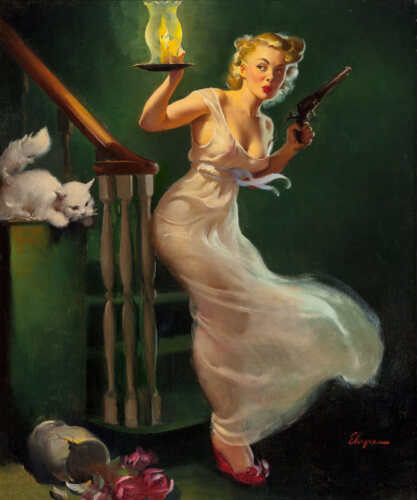 LOOKING FOR TROUBLE 1950 GIL ELVGREN VINTAGE PIN UP POSTER PRINT 24x20 9MIL