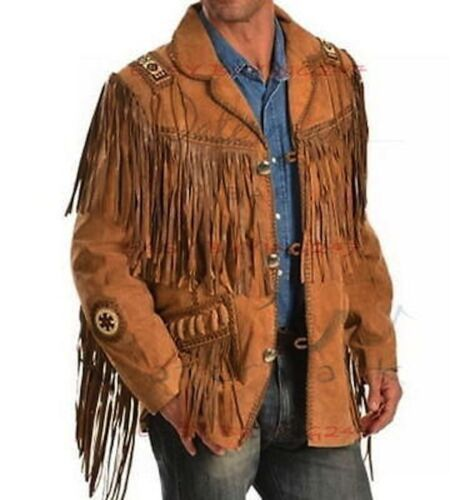 New Mens Traditional Suede Leather Western Jacket Coat With fringes & beads