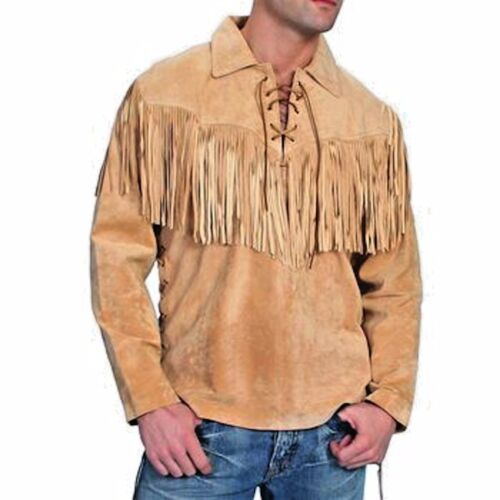 Men's Traditional Western Suede Leather Mountain Man Shirt With Fringes Jacket