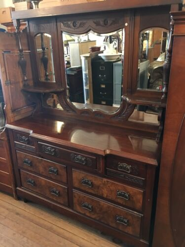 c1890s Antique English Solid Walnut Mirrorback Buffet Sideboard Server Burl