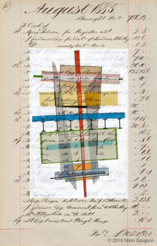 Page 163: original mixed media on antique ledger page modern art architectural