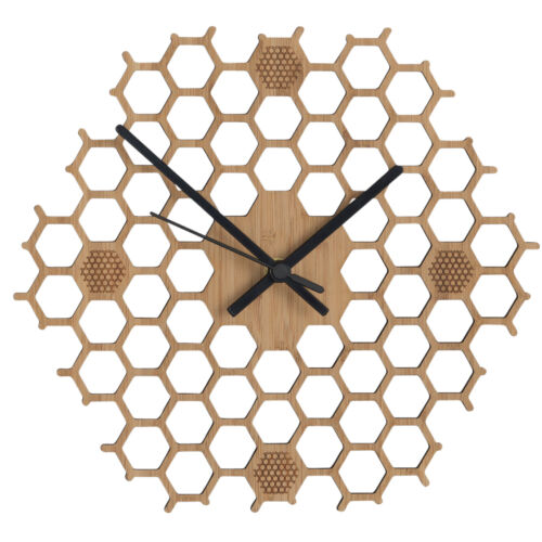 Honeycomb Wooden Wall Clock With Non Ticking Silent Sweep, Unique Bamboo Decor