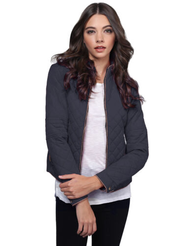 FashionOutfit Women's Casual Warm Quilted Padded Side Ribbed Puffer Jacket
