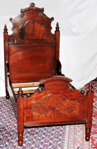 "Child Doll BED, 30""t, high-back, Renaissance, Victorian, walnut, rosewood, c1870"