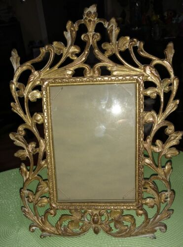 """Antique Victorian Baroque Ornate Bronze Easel Table Top Frame 13"""" Tall 5"""" x 7"""""""