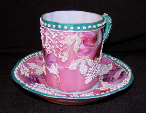 Antique Japanese Moriage Cup and Saucer Circa 1900 Nippon